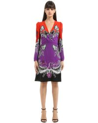 Roberto Cavalli - Gradient Printed Cotton Blend Dress - Lyst