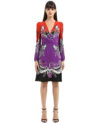 Roberto Cavalli - Gradient Printed Cotton Blend Dress - Lyst