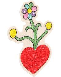 Olympia Le-Tan - Heart & Flowers Beaded Pin - Lyst