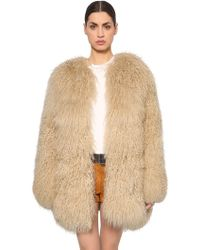 Saint Laurent - Mongolian Fur Coat - Lyst