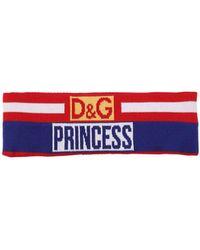 Dolce & Gabbana - Princess Logo Wool Jacquard Headband - Lyst
