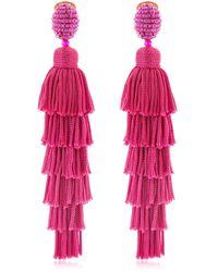 Oscar de la Renta Long Silk Tiered Tassel Earrings - Pink