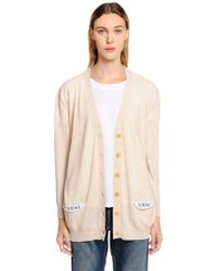 Loewe - Wool Knit Cardigan W/ Logo Pockets - Lyst