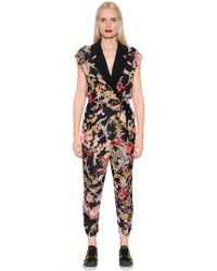 I'm Isola Marras - Floral Printed Light Crepe Jumpsuit - Lyst
