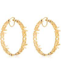 Versace - Logo Lettering Hoops Earrings - Lyst