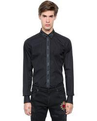 Dolce & Gabbana - Logo Ribbon Cotton Poplin Shirt - Lyst