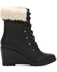 Sorel - After Hours Shearling Lace-up Boots - Lyst