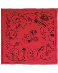 Levi's - Snoopy & Logo Printed Cotton Scarf - Lyst
