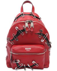 Moschino - Leather Backpack W/ Safety Pins - Lyst