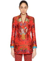 Etro - Double Breasted Brocade Blazer - Lyst