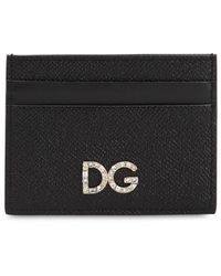 Dolce & Gabbana - Dauphine Leather Dg Crystals Card Holder - Lyst
