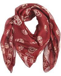 Alexander McQueen   Classic Skull Print Silk Chiffon Scarf   Lyst