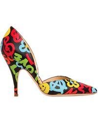Moschino | 100mm Graffiti Print Leather Court Shoes | Lyst