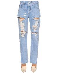 Jonathan Simkhai - Boyfriend Embellished Ripped Denim Jeans - Lyst