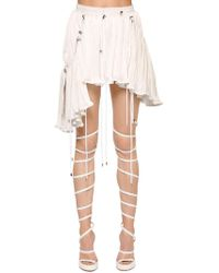 Y. Project - Layered Drawstring Pleated Satin Skirt - Lyst
