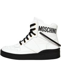 Moschino - 20mm Leather Logo High Top Sneakers - Lyst