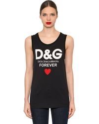 Dolce & Gabbana - Sleeveless Cotton T-shirt - Lyst