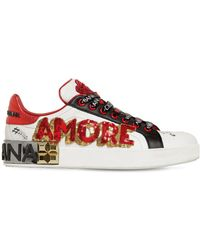 Dolce & Gabbana - 20mm Amore Embellished Leather Trainers - Lyst