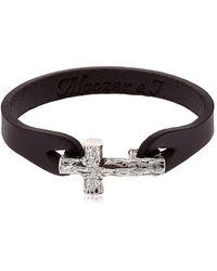 Alcozer & J - Silver Cross & Leather Bracelet - Lyst
