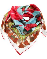 Dolce & Gabbana - Roses Printed Silk Satin Scarf - Lyst