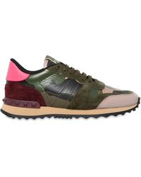 Valentino | Rockrunner Canvas & Leather Trainers | Lyst