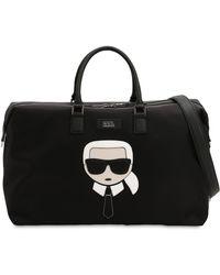 Karl Lagerfeld - K/ikonik Patch Nylon Weekender Bag - Lyst