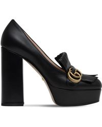 c73a42549 Gucci 25mm Marmont Gg Fringed Suede Pumps in Red - Lyst
