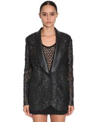 Ermanno Scervino - Waxed Lace & Faux Leather Blazer - Lyst
