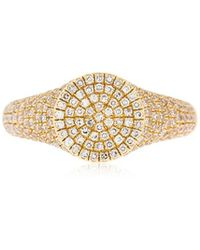 EF Collection - Diamond 14kt Gold Signet Ring - Lyst