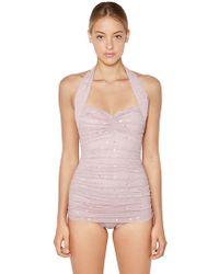 Norma Kamali - Embellished Mesh One Piece Swimsuit - Lyst
