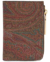 Etro - Paisley Faux Leather Zip Wallet - Lyst