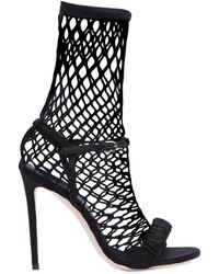 Marco De Vincenzo - 120mm Satin & Fishnet Sock Sandals - Lyst