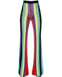 Balmain - High Waist Striped Flared Crochet Pants - Lyst
