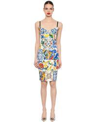 Dolce & Gabbana - Maiolica Printed Charmeuse Dress - Lyst
