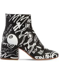 MM6 by Maison Martin Margiela - 65mm Graffiti Print Leather Ankle Boots - Lyst
