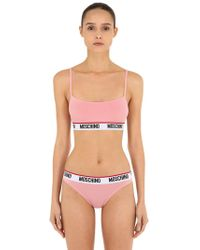 446d16f6a656c Moschino - Elastic Logo Band Microfiber Bralette - Lyst