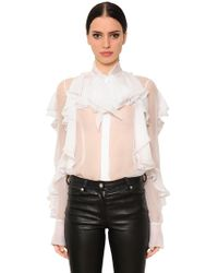 Givenchy - Ruffled Sheer Silk Chiffon Shirt - Lyst