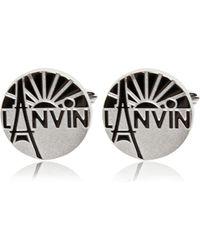 Lanvin | Engraved Enameled Brass Cufflinks | Lyst