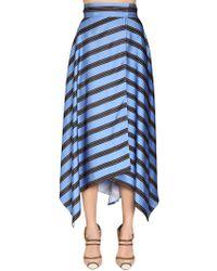 Fendi - Asymmetric Striped Viscose Midi Skirt - Lyst