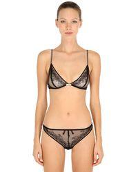 Chantal Thomass Bow & Lace Triangle Bra - Black