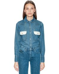 Calvin Klein Jeans - Two Tone Cotton Denim Shirt - Lyst