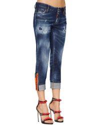 DSquared² - Super Skinny Med Wash Cotton Denim Jeans - Lyst