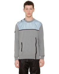 Givenchy - Nylon Panel On Cotton Knit Sweater - Lyst