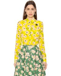 Rochas | Magnolia Print Silk Crepe De Chine Shirt | Lyst