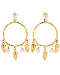 Eshvi - Charms Hoop Ear Jacket Earrings - Lyst
