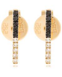 EF Collection - 2tone Diamond Bar Stud Earrings - Lyst