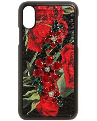 Dolce & Gabbana - Roses & Crystals Leather Iphone X Case - Lyst
