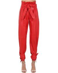 Attico - Pantaloni In Pelle Con Cintura - Lyst
