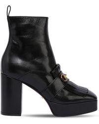 Gucci - 85mm Novel Platform Leather Boots - Lyst