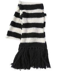 Saint Laurent - Striped Wool & Mohair Blend Knit Scarf - Lyst